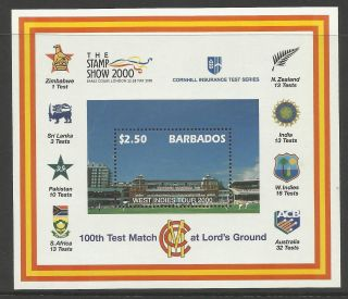 Barbados 2000 Lord ' S Cricket 100th Centenary Test Match Souv Sheet photo