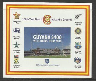 Guyana 2000 Lord ' S Cricket 100th Centenary Test Match Souv Sheet photo