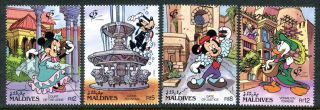 Maldive 1678 - 1681 Walt Disney Characters In Old Alhambra,  Granada 1992.  X14511b photo