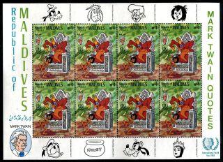 Maldive 1139 Walt Disney Characters Mark Twin American Novelist 1985 X14522 photo