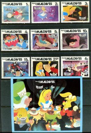 Maldive 887 - 896 Walt Disney,  Cartoon - 1980: Alice In Wonderland X14518 photo