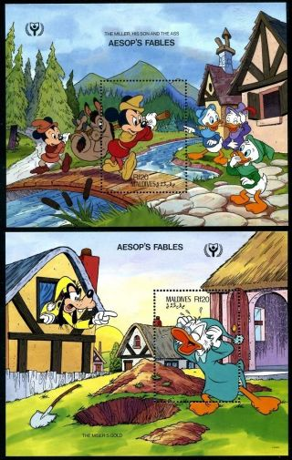Maldive 1466 - 1475 Walt Disney Characters Year Ily - 1990 Aesop ' S Fables X14530 photo