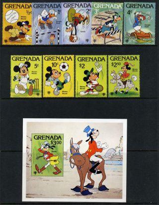 Grenada 950 - 9 Disney,  Sports,  Horse,  Goofy,  Donald Duck,  Tennis photo