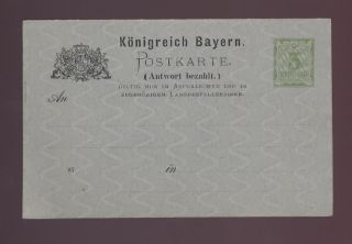 Germany Bavaria 1900 Reply Paid Stationery Card. . . photo