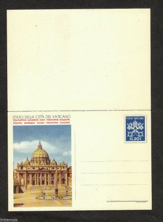 Vatican City Postal Stationary W/ Reply - Interi Postali Mi P14 photo