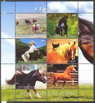 2012 Horses V Sheet Of 6 Mdc2135 photo