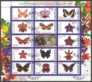 2009 Scouting Butterflies And Orchids Sheet Of 14 + Label photo