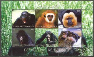 2012 Monkeys I Chimpanze Gorilla Sheet Of 6 Mdc2158 photo