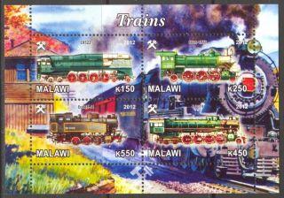 2012 Trains Locomotives Vii Sheet Of 4 M1 photo