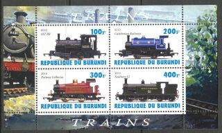 2010 Old Trains Locomotives Vi Sheet Of 4 Cb066 photo