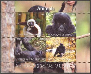 2011 Monkeys Iii Gorilla Sheet Of 4 Mdbc1126 photo
