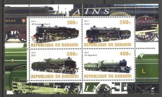 2010 Trains Locomotives Iv Sheet Of 4 Cb064 photo