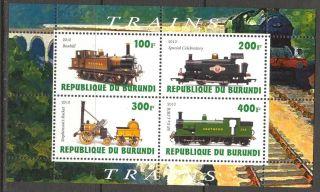 2010 Old Trains Locomotives V Sheet Of 4 Cb065 photo