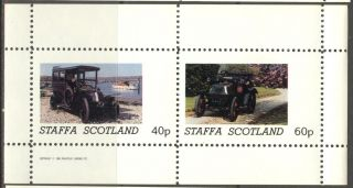 Staffa (br.  Local) 1982 Old Cars Sheet Of 2 Ns189 photo