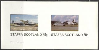 Staffa (br.  Local) 1982 Aviation Airplanes Ii Sheet Of 2 Imperf.  Ns192 photo