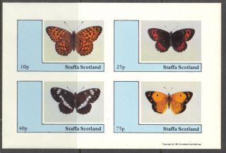 Staffa (br.  Local) 1981 Butterflies Sheet Of 4 Imperf.  Ns216 photo