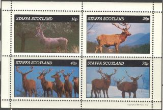Staffa (br.  Local) 1981 Animals Deers Sheet Of 4 Ns218 photo
