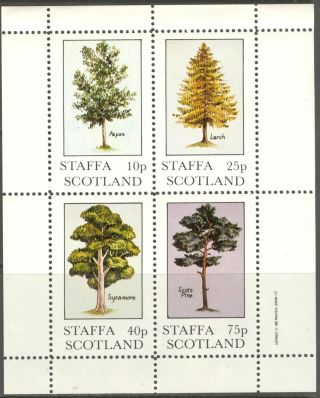 Staffa (br.  Local) 1982 Trees Aspen Larch Pine Sycamore Sheet Of 4 Ns232 photo