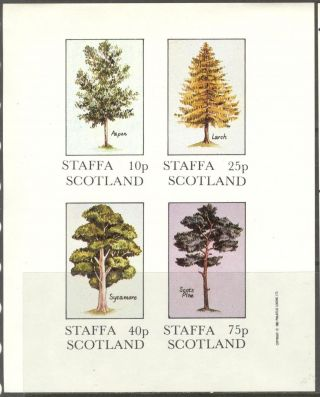 Staffa (br.  Local) 1982 Trees Aspen Larch Pine Sycamore Sh.  4 Imperf Ns233 photo