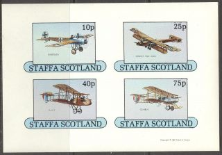Staffa (br.  Local) 1981 Aviation Airplanes Ii Sheet 4 Imperf.  Ns244 photo