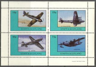 Staffa (br.  Local) 1981 Aviation Airplanes Iii Sheet 4 Ns246 photo