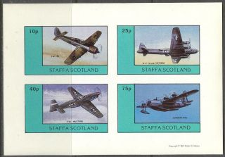 Staffa (br.  Local) 1981 Aviation Airplanes Iii Sheet 4 Imperf.  Ns247 photo
