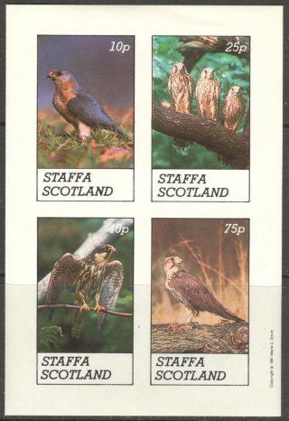 Staffa (br.  Local) 1981 Birds Ii Eagles Owls Sheet 4 Imperf.  Ns266 photo