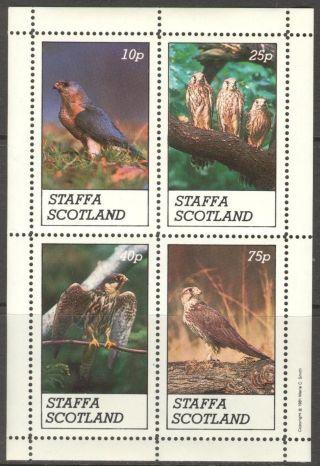 Staffa (br.  Local) 1981 Birds Ii Eagles Owls Sheet 4 Ns267 photo
