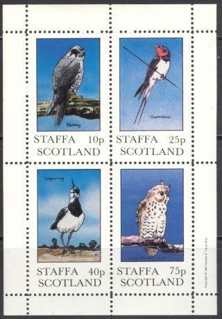 Staffa (br.  Local) 1981 Birds Iv Owl Swallow Hobby Sheet 4 Ns271 photo