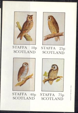 Staffa (br.  Local) 1981 Birds Xv Owls Sheet 4 Imperf.  Ns292 photo