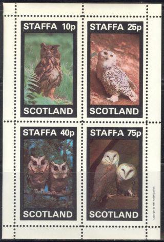 Staffa (br.  Local) 1981 Birds Xvi Owls Sheet 4 Ns293 photo