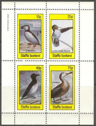 Staffa (br.  Local) 1982 Birds Ii Penguin Albatros Sheet 4 Ns298 photo