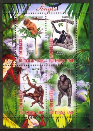 2013 Monkeys Sheet Of 4 6t 207 photo