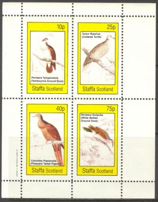 Staffa (br.  Local) 1982 Birds Iv Pigeons Sheet 4 Ns302 photo