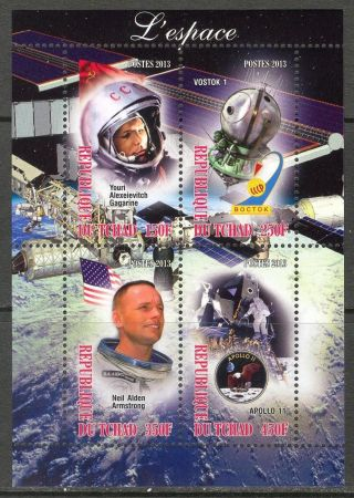 2013 Space Gagarin Armstrong Apollo 11 Vostok Sheet Of 4 6t 223 photo