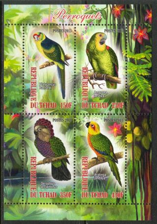 2013 Ravenous Birds Parrots Sheet Of 4 6t 126 photo