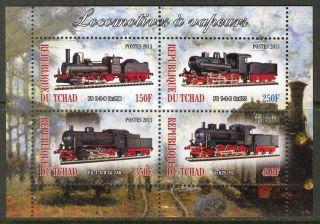 2013 Trains Locomotives Iv Sheet Of 4 6t 133 photo