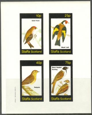 Staffa (br.  Local) 1982 Birds Vi Finch Wood Lark Sheet 4 Imperf.  Ns307 photo