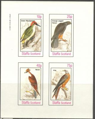 Staffa (br.  Local) 1982 Birds Vii Falcon Woodpecker Sheet 4 Imperf.  Ns308 photo