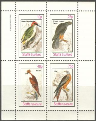 Staffa (br.  Local) 1982 Birds Vii Falcon Woodpecker Sheet 4 Ns309 photo