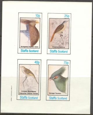 Staffa (br.  Local) 1982 Birds Viii Eater Touraco Sheet 4 Imperf.  Ns311 photo