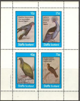 Staffa (br.  Local) 1982 Birds Ix Pigeons Sheet 4 Ns313 photo