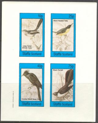 Staffa (br.  Local) 1982 Birds X Fantail Tody Sheet 4 Imperf.  Ns315 photo