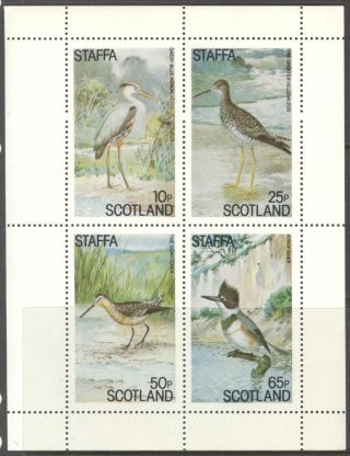 Staffa (br.  Local) 1982 Birds Xi Heron Kingfisher Yellowlegs Sh.  4 Ns316 photo