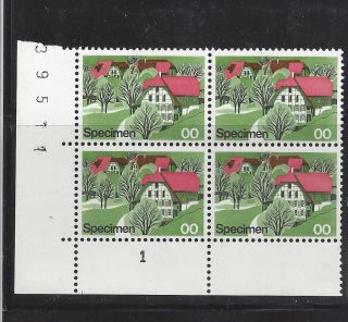 Block Of 4 Swiss Village Test Stamp Switzerland Inscribed