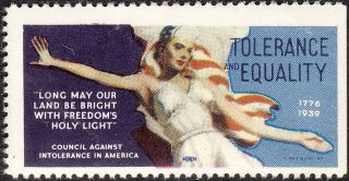 Stamp Label Usa 1939 Wwii Poster Council Against Intolerance America Equality Mn photo