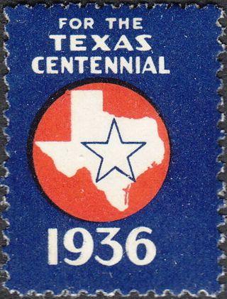 Stamp Label Usa 1936 Poster Cinderella Texas Centennial photo