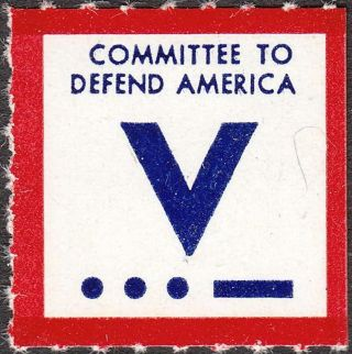 Stamp Label Us 1941 Wwii Committee To Defend America Morse Code Victory photo