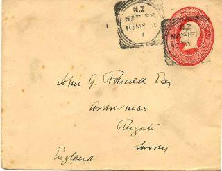 Zealand: 1905 1d Ps Envelope To Uk H & G9b Napier Sq Circle photo