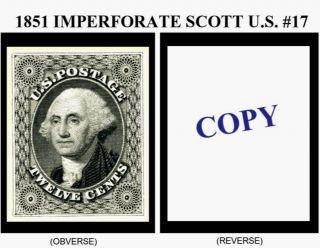 1851 12¢ Imperforate U.  S.  Scott 17 Reproduction photo